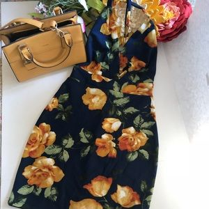 Floral Criss Cross Back Party Dress
